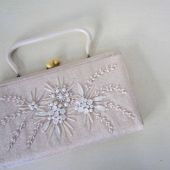 1950s White Purse / Souré Bag / Beaded Handbag
