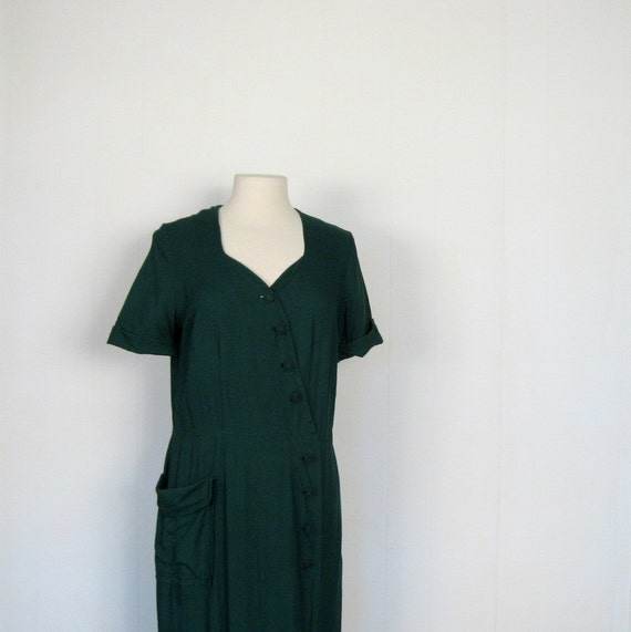 Vintage 1940s Dress / Forest Green Linen / 40s Dress / M