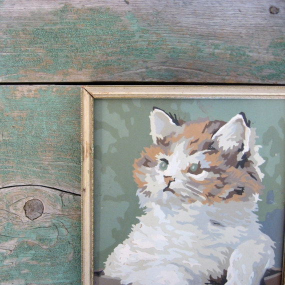 Vintage Paint by Numbers Cat / Framed Kitty Painting / Shabby Tabby