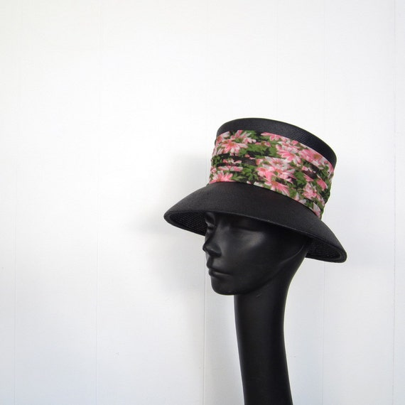 1960s Hat / Holly Golightly / Black Straw Hat / Pink Flowers