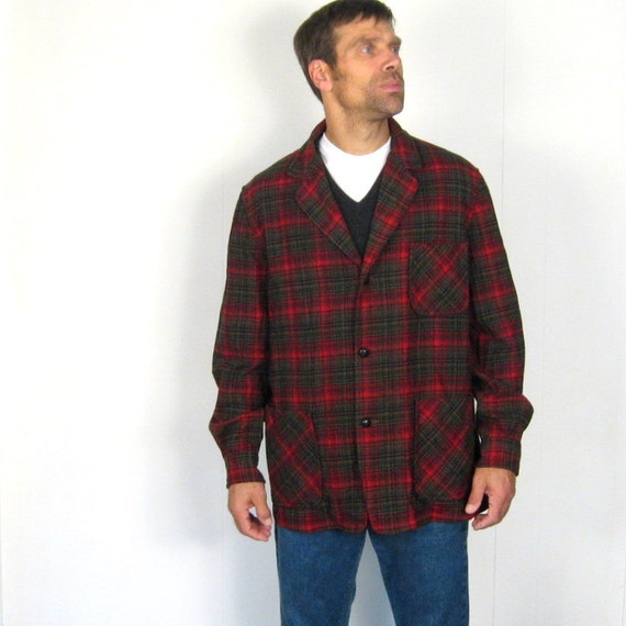 Pendleton wool shirt 1970s mens jacket red plaid l for Mens red wool shirt