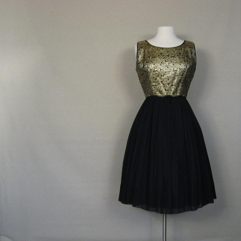 Vintage 1950s Rat Pack Cocktail Dress M L