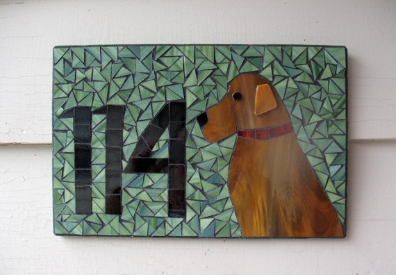 Mosaic address sign with 2 or 3 numbers and dog
