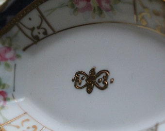 Nippon, Butter Pan Pats, Salt Dish, Antique, Gold Gild with Roses, Green back stamped, set of six