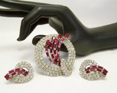 On Hold for Paulette  Art Deco style ruby red and clear brooch ears