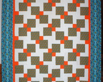 Orange quilt | Etsy : blue and orange quilt - Adamdwight.com