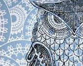 Owl print poster, original 11X14