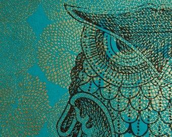Owl print on teal with gold mums, original 11 x 14 poster