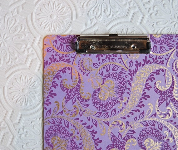 purple paisley, decorative clipboard, double sided