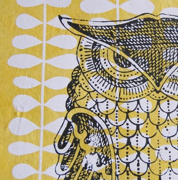 hand-printed owl, original, 11 x 14, NEW 2012 line