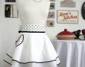RESERVED FOR  janetlb---Retro DOUBLE PERFECT CIRCLE Hostess Apron in White Cotton with Black and White Polka Dot Sash--READY TO SHIP