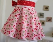Hostess Apron in Cherries on Pink Print