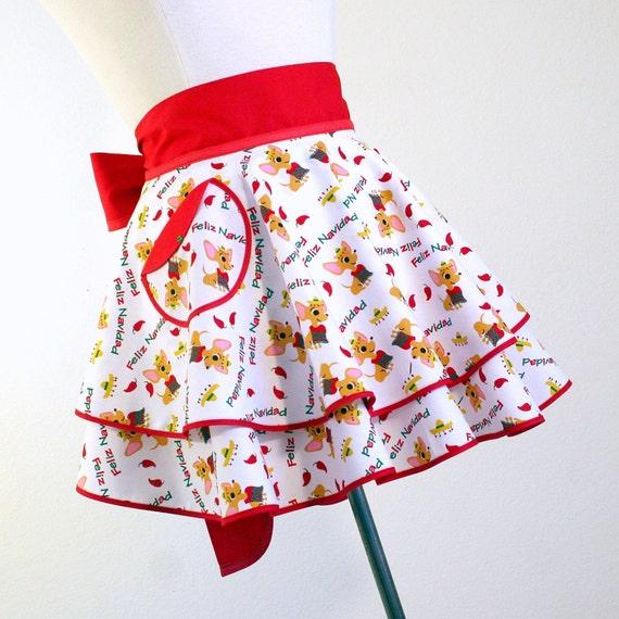 Double PERFECT CIRCLE Hostess Apron in Feliz Navidad Chihuahua Print with Free Gift Bag