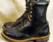 Vtg Black Leather Lace-Up Hiking Granny Ankle Boots 9