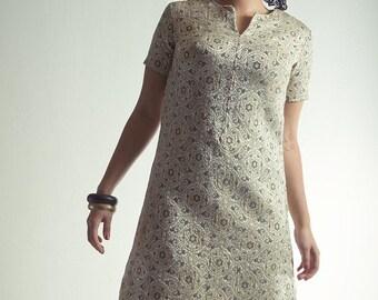 Golden Elegance Brocade Dress