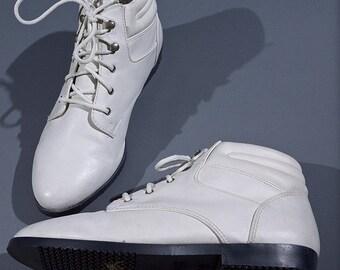 White Vegan Leather Pixie Boots 7
