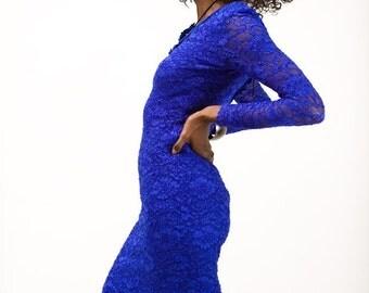 Cobalt Lace Bandage Dress