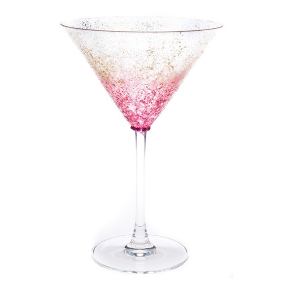 Martini Glasses - Hand Painted Red and Gold Sparkle Martini Glasses