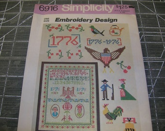 Vintage Simplicity Pattern   Bicentiennial Embroidery Designs 1975