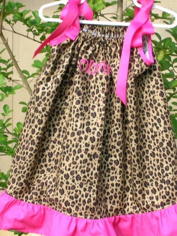 Fancy Nancy Leopard Print and Pink  Pillowcase Dress Size 12mo. t0 7yr.