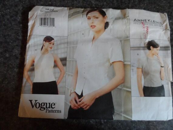 Women's Vogue Blouse Uncut Pattern 1822  Anne Klein II    Size 6-8-10  1996