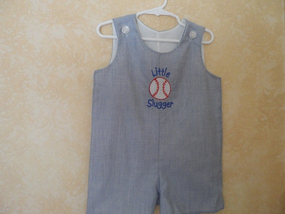 Boy's Blue Seersucker Little Slugger  Jon Jon Shortall Romper Size 6 mo. - 3T Embroiderd