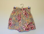 80s 90s paper bag high waist shorts floral bongo shorts