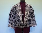 Aztec Navajo Ethnic Southwest Black and White print boho cropped jacket