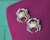1940s sterling silver matching crab brooches Mexican Jadeite folk art