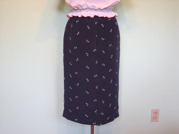 1950s style rockabilly vintage pencil skirt sailor anchor print silk