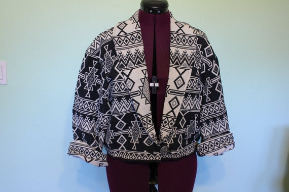 Aztec Navajo Ethnic Southwest Black and White print boho cropped jacket
