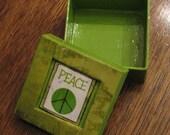 Lime Green Peace Jewelry Box\/Gift Box