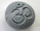 Om Engraved Grey Stone Aum Yoga Meditation