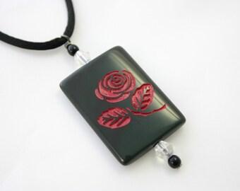 Rainbow Obsidian Gemstone Engraved Rose Pendant on Satin Cord
