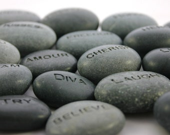 Custom Engraved Stone Worry Stone Pocket Rock Name Stone