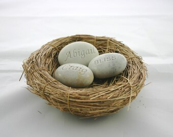 Love Nest Custom Engraved Stone Set of 3 White Stones