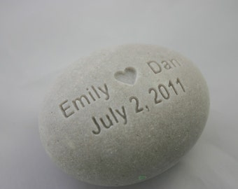 Oath Stone Custom Engraved White Wedding Stone Personalized