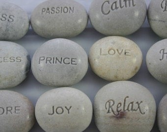 Custom Engraved White Stones Wedding Favors Set of 12