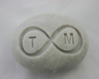 Custom Infinity Engraved Initials Stone Eternity Love Rock