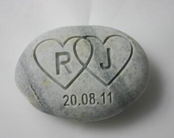 Interlocking Hearts Engraved Oath Stone Initials Date Custom Oathing Rock Weddings