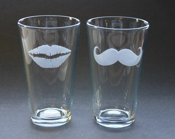 Lips and Moustache Etched Beer Pints Glasses Engraved Set of 2
