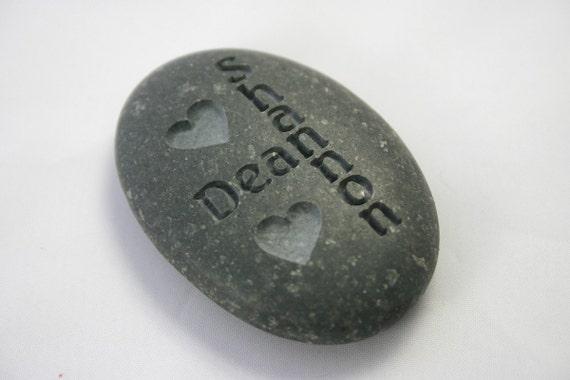 Oath Stone Custom Engraved Wedding Oathing Stone Interlocking Names