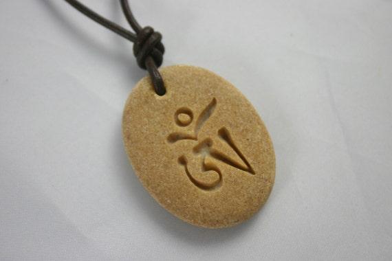 Tibetan Om Engraved Yellow Stone Buddhism Aum Desert Stone