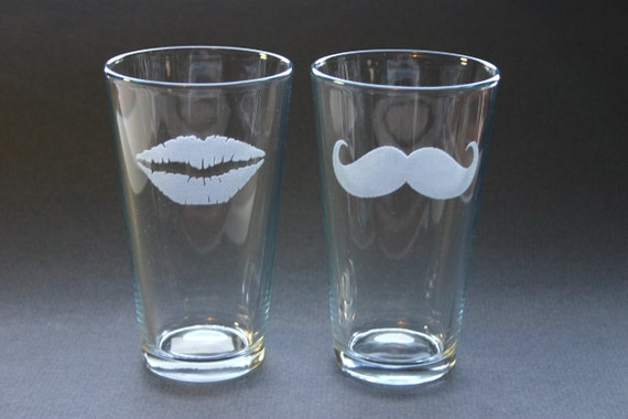 His and Hers Etched Beer Pints Glasses Engraved Moustache Lips Mustache