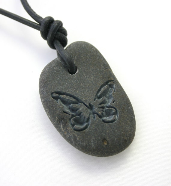 Butterfly Engraved Stone River Rock Necklace