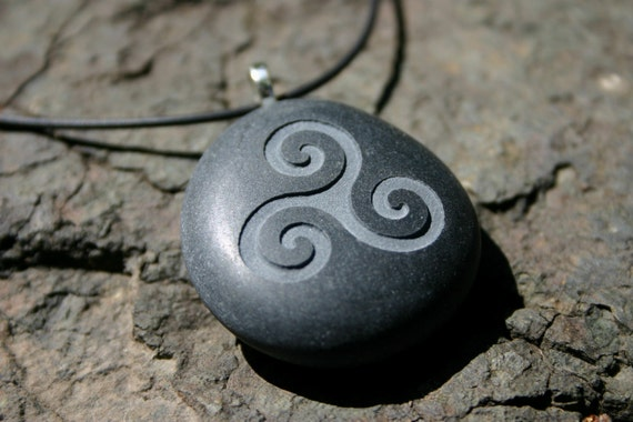 Triple Spiral Celtic Symbol Engraved Stone Ocean Pebble on Leather Cord
