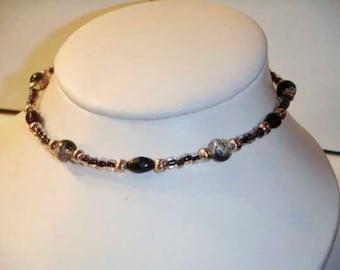 Silver Black Czech Glass bead choker