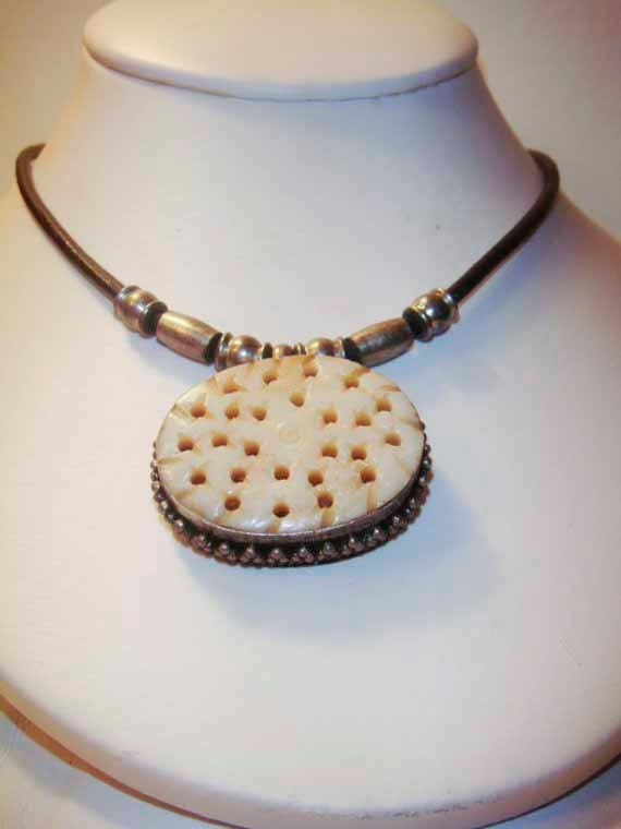 Silver and Bone Cameo on leather cord with silver beads VINTAGE