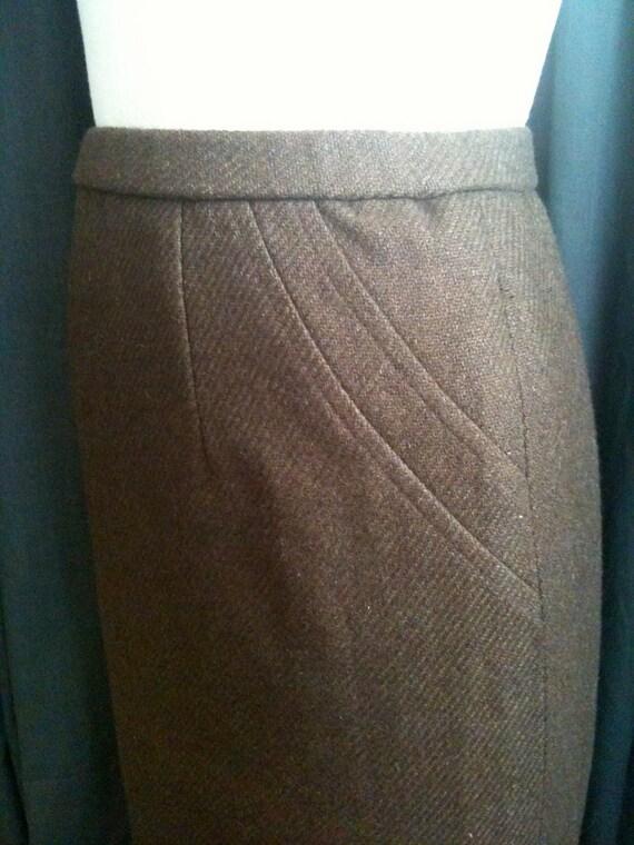 Vintage Brown Tweedy Wool Pencil Skirt size 10/12 Large