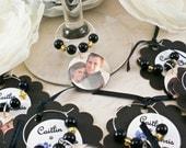 20 Custom Photo Wine Glass Charms/Wedding/Shower Favors